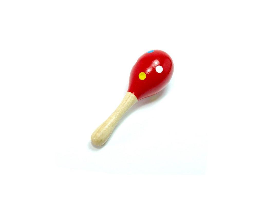 Mini rumbakoule - červená, barevné puntíky