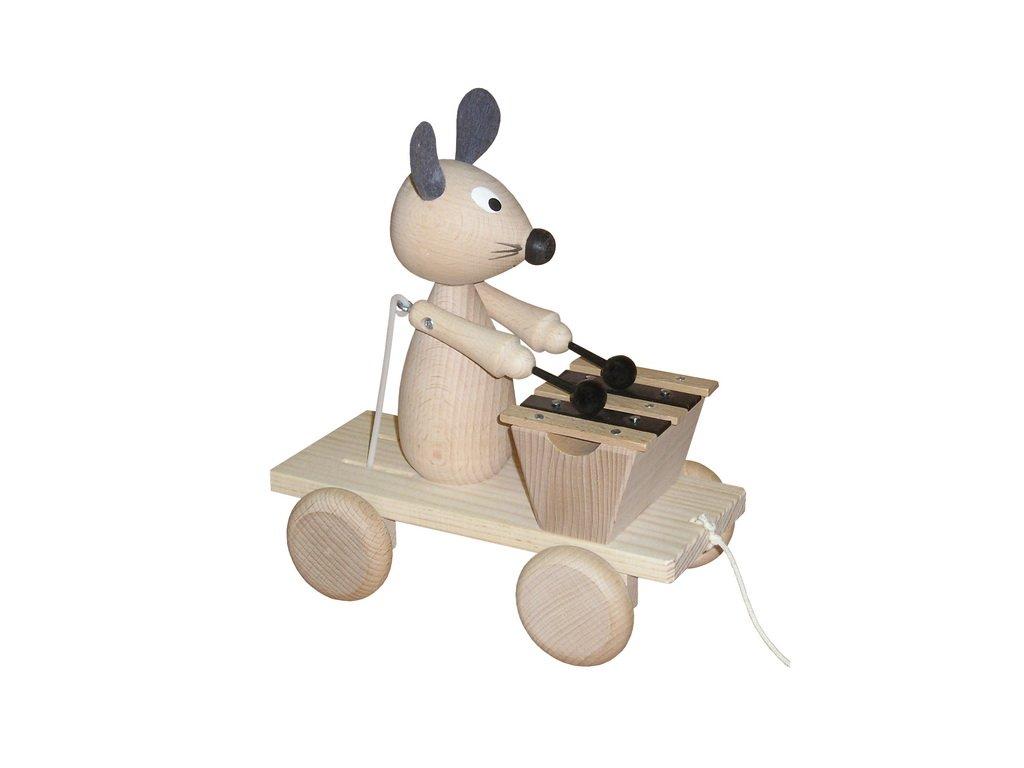 Tahací myš s xylofonem - přírodní