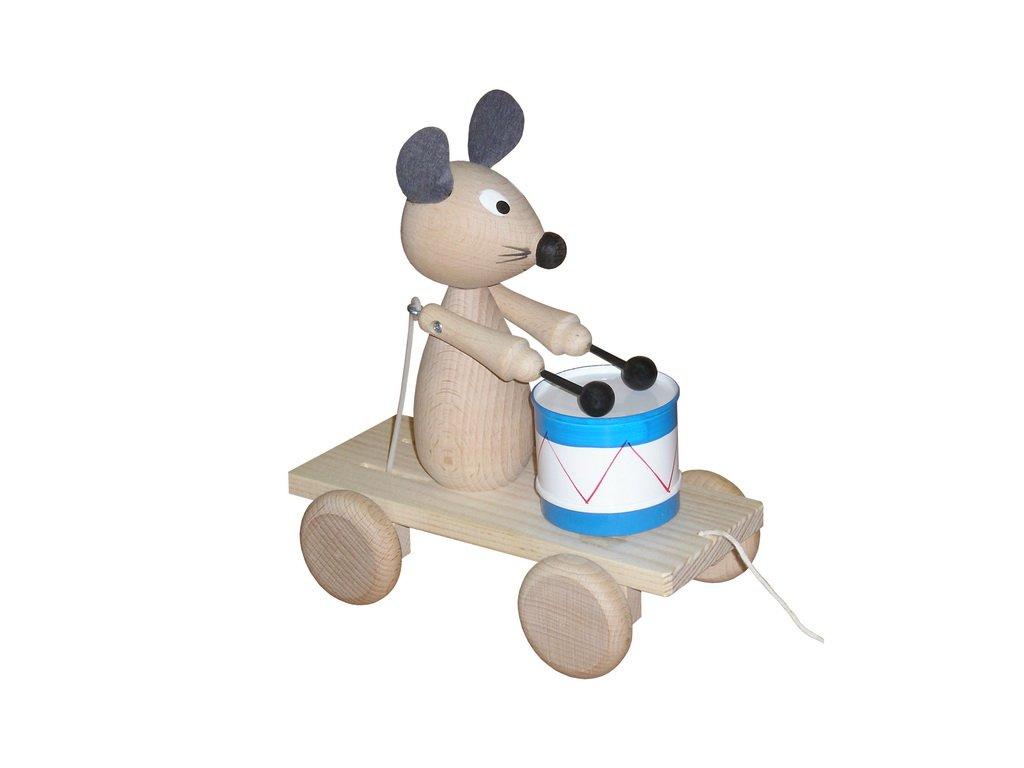 Tahací myš s bubnem - přírodní