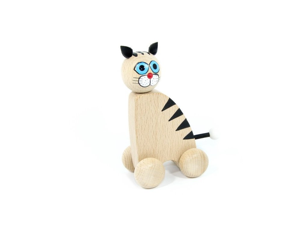 Dřevěná kočka na kolečkách - velká