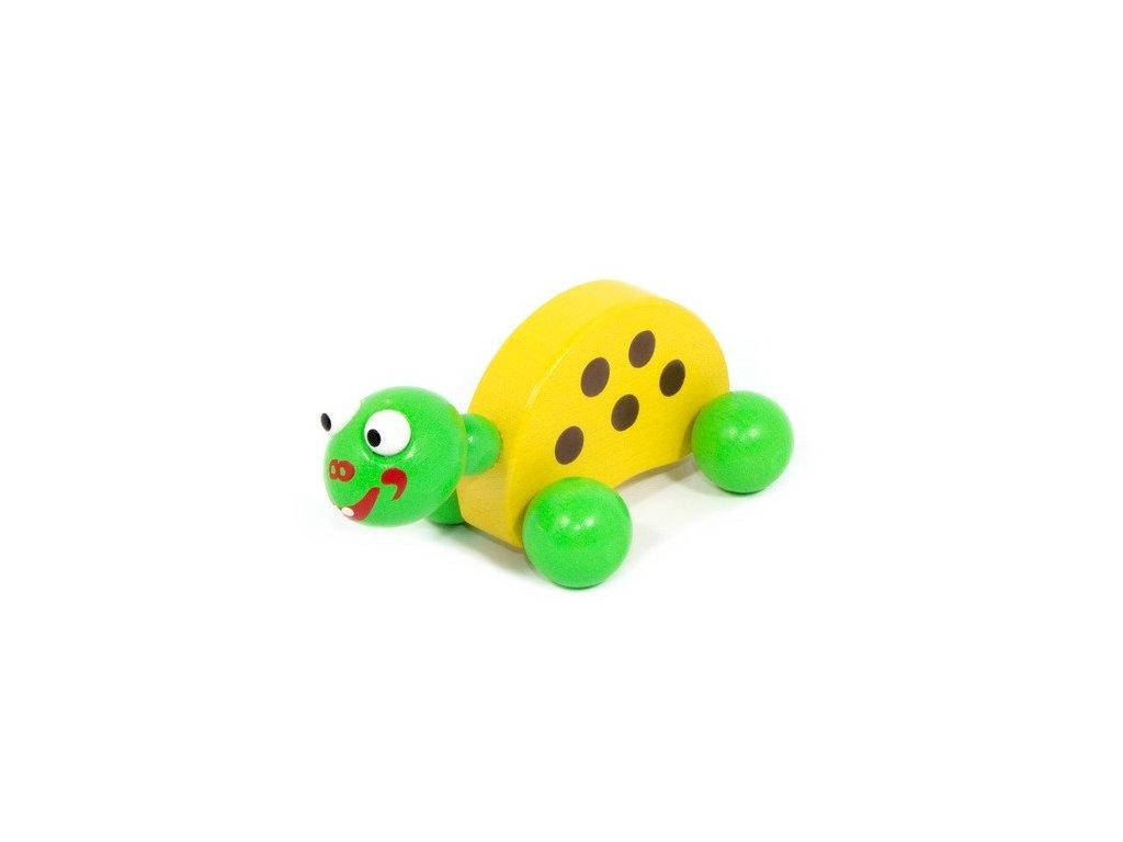 Dřevěná Želva žlutá na kolečkách