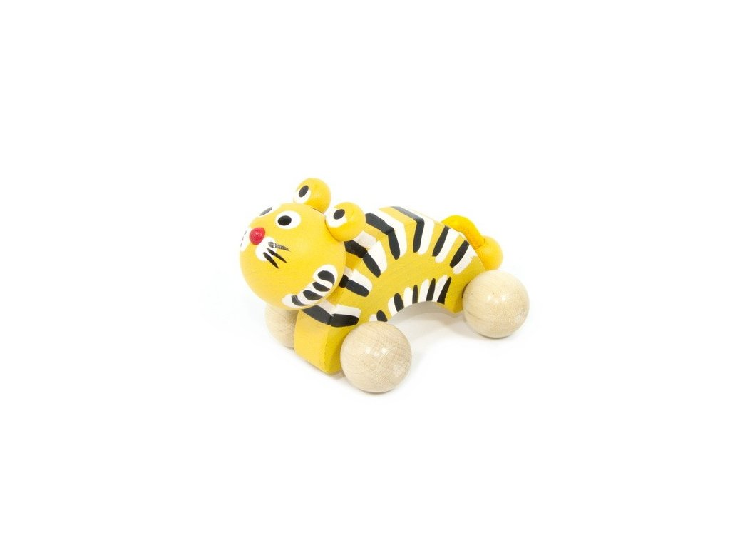 Dřevěný Tygr žlutý na kolečkách