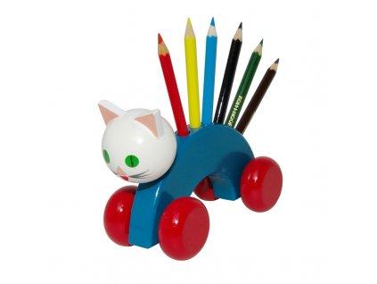 tužkovník kočka na kolečkách barevná