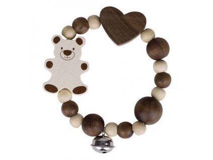 Medvídek a velké srdce – elastická hračka s rolničkou