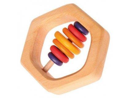 Dřevěné chrastítko šestiúhelník a barevné kroužky