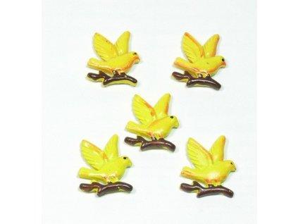 Ptáček žlutý v letu - keramický, 5ks