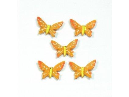 Motýl oranžový - keramický, 5ks