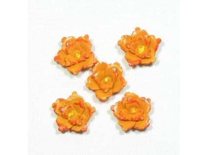 Kytka oranžová - keramická, 5ks