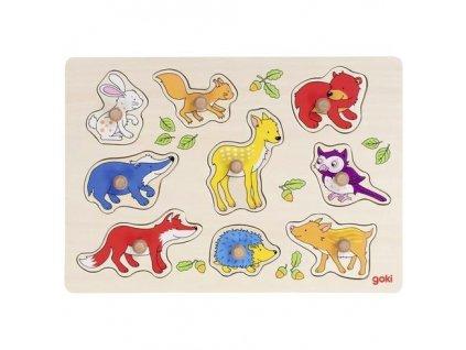 Goki Dřevěné puzzle s úchytkami – Lesní zvířátka, 9 dílů