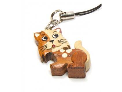 Kočka - přívěsek na mobil (tropické dřevo)