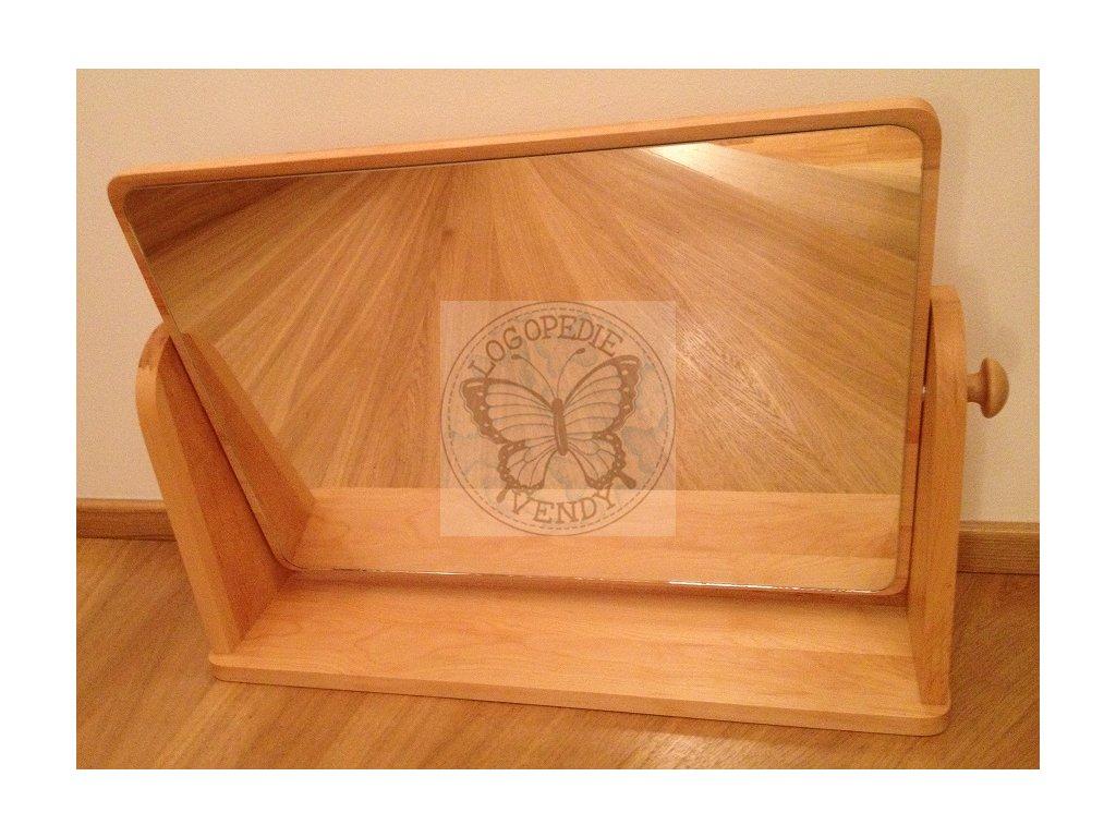 Logopedické zrcadlo 3 v 1 - otočné, BUKOVÝ MASIV, S MAGNETICKOU DESKOU, POPISOVATELNÉ