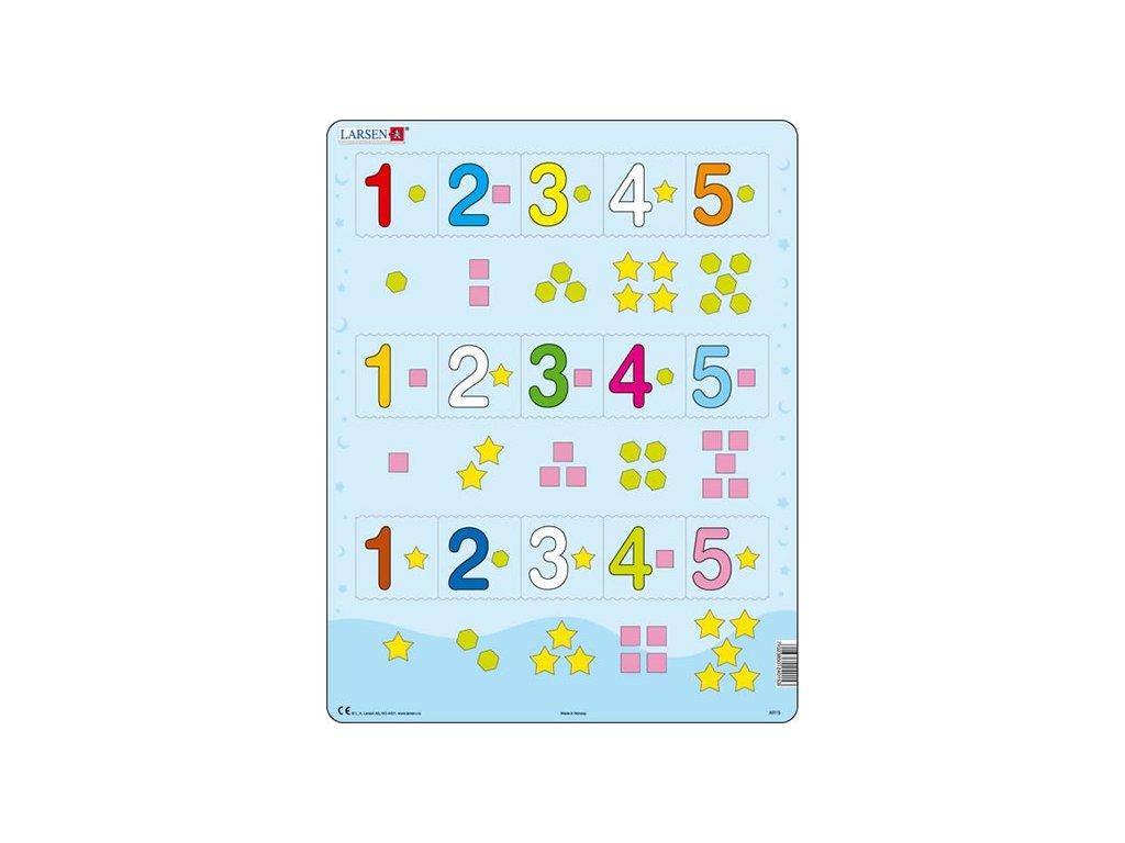 Puzzle MAXI - Čísla 1-5 s grafickými znaky 15 dílků
