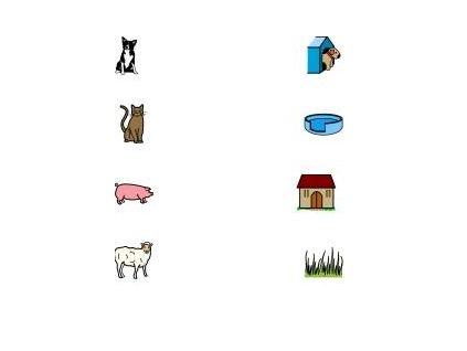 Spojování 2 (domečky zvířata) - naučná karta
