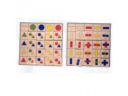 Tvary a barvy - třídící tabulky