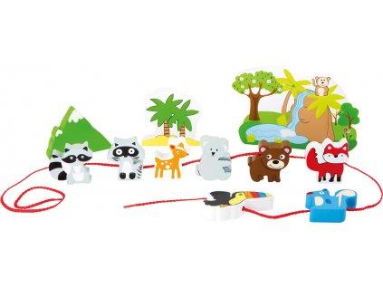 Dřevěný navlékací hrací set Safari