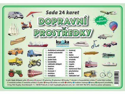 Dopravní prostředky A7, sada 24 karet, Petr Kupka