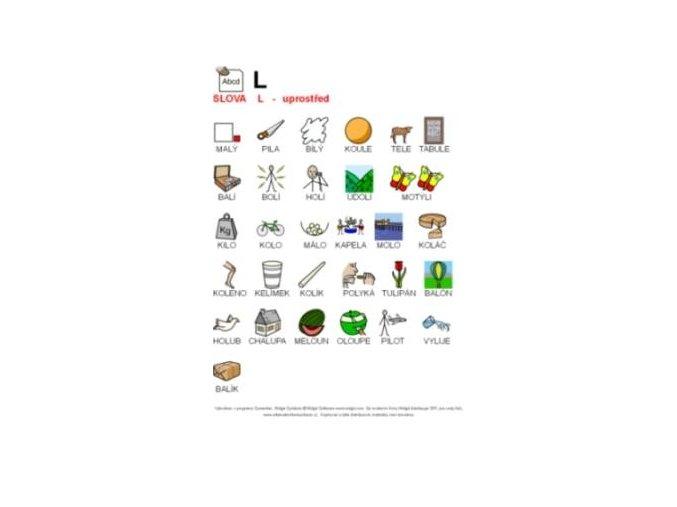 Výslovnost L uprostřed slova - naučná karta