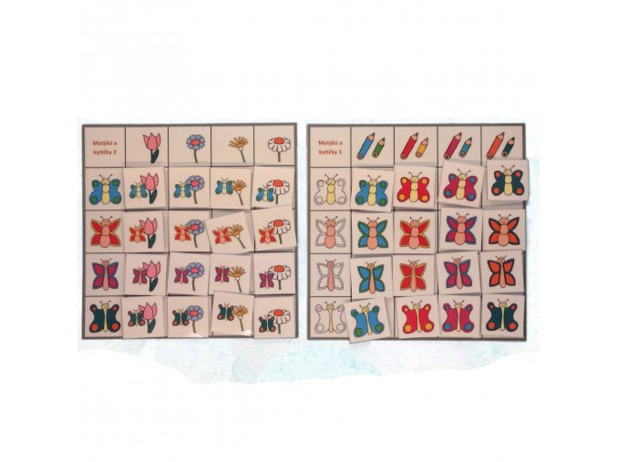 Motýlci a kytičky - třídící tabulky
