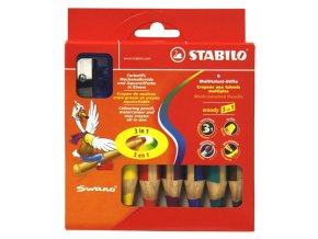 STABILO woody 3 in 1, pastelky 6ks +ořezávátko