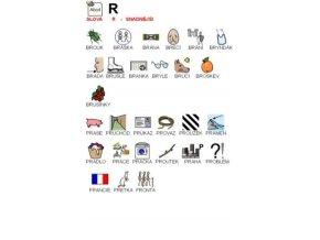 Výslovnost R snadnější slova - naučná karta