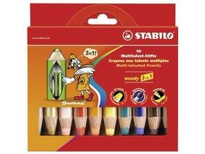 STABILO woody 3 in 1, pastelky 10ks včetně zlaté a stříbrné