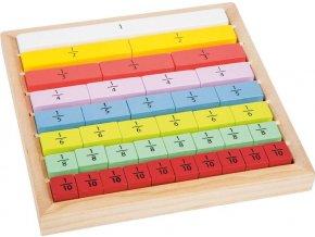 Edukativní tabulka barevná - zlomky