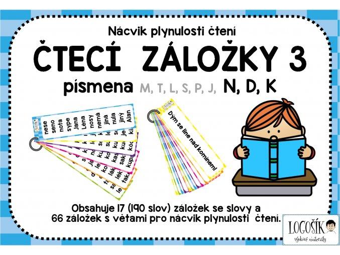 Plynulost čtení - SLOVA písmena m,t,l,s,p,j, N, D, K  - záložky 3