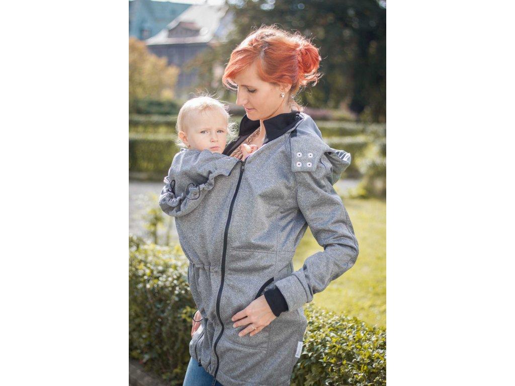 Kabát na nošení dětí - barva šedý melír