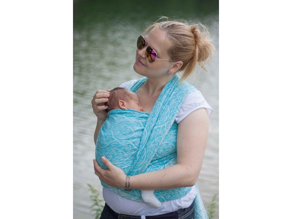 Bird Garden Azure - šátek na nošení dětí