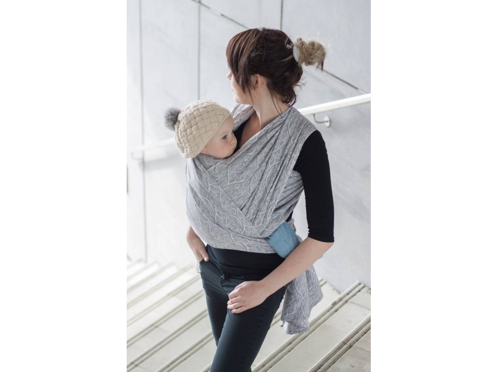 Bird Garden Grey - šátek na nošení dětí
