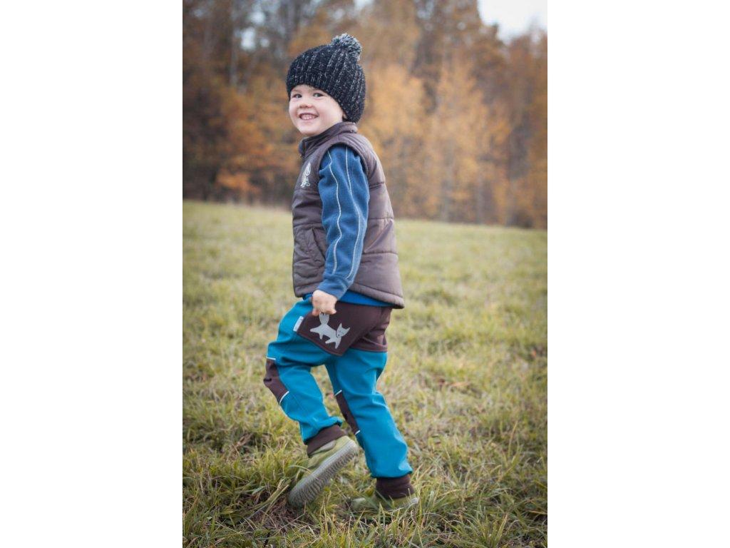 Softshellové kalhoty pro děti petrolejové