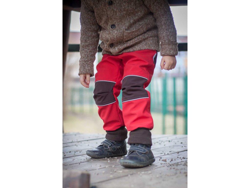 Softshellové kalhoty pro děti červené