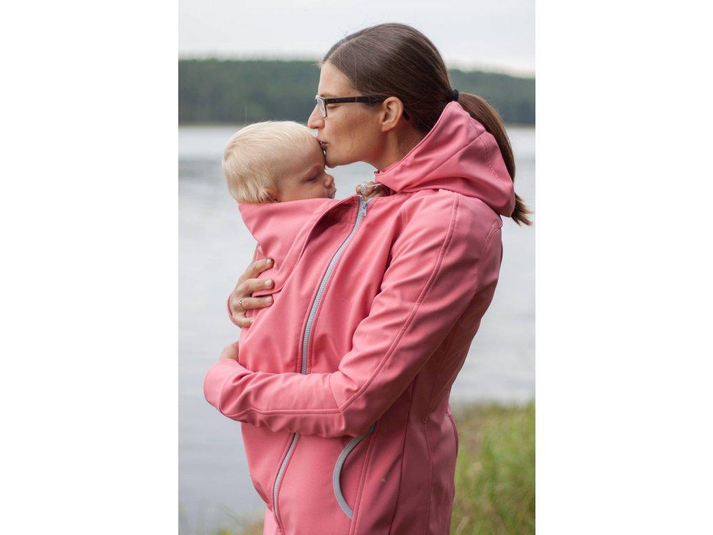 Softshellový kabát na nošení dětí - lososový
