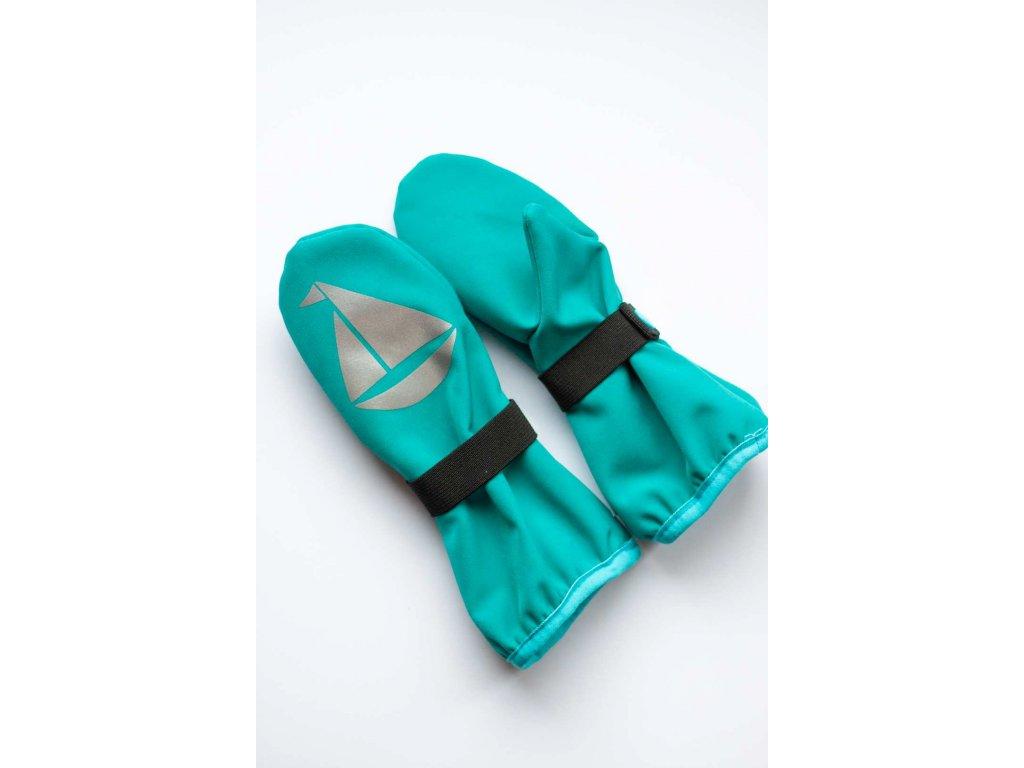 Dětské softshellové rukavice - tyrkysové