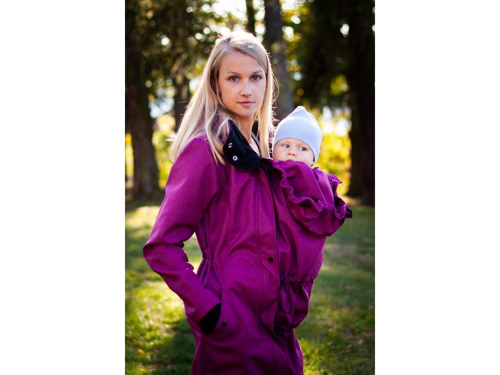 Softshellový kabát na nošení dětí - malinový melír