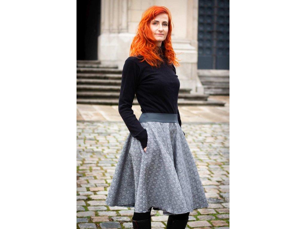 Dámská kolová sukně z merina - Soffa Steel