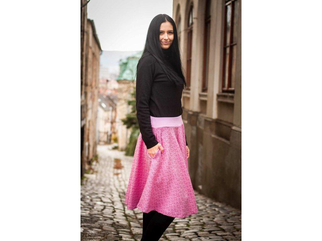 Dámská kolová sukně z merina - Soffa Marshmallow