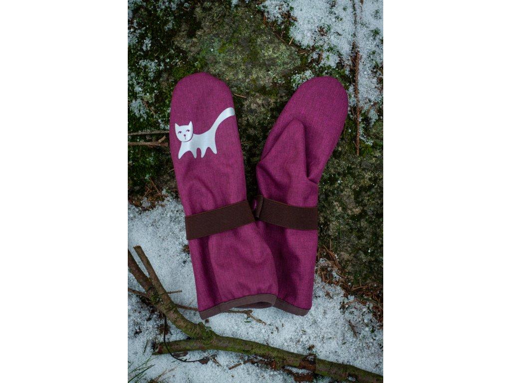 Dětské softshellové rukavice - malinové