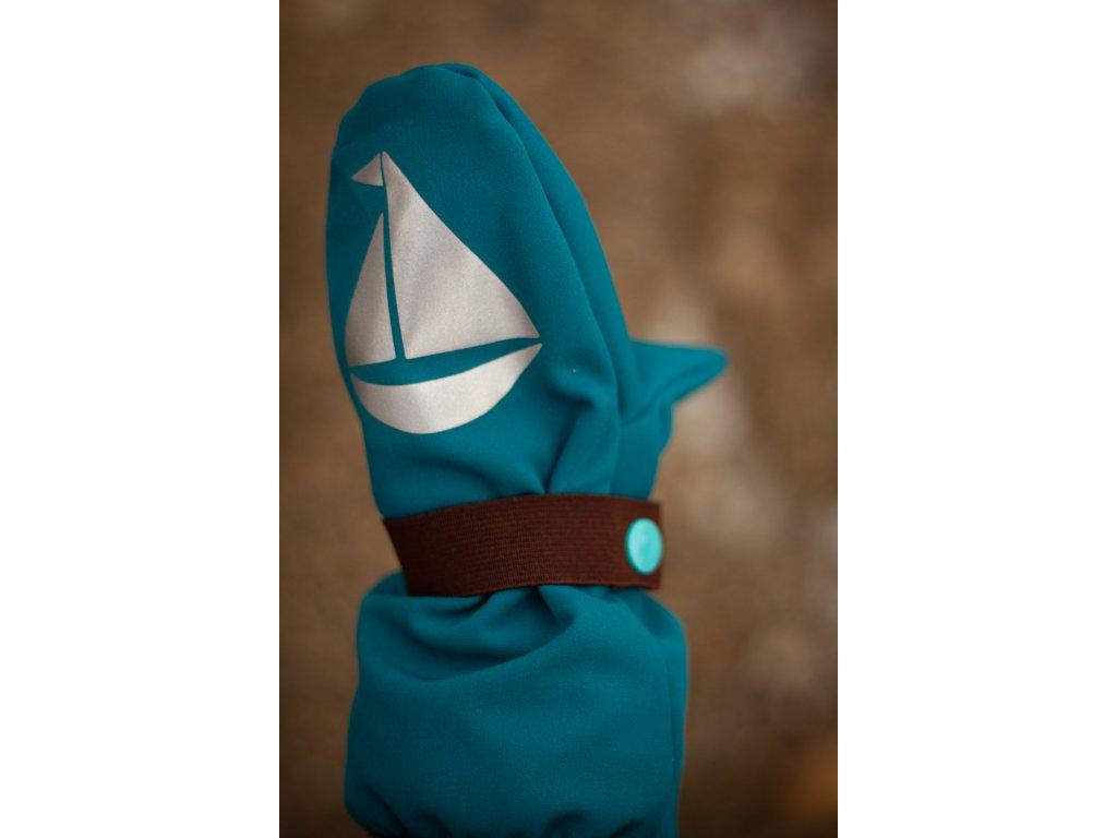 Dětské softshellové rukavice - petrolejové