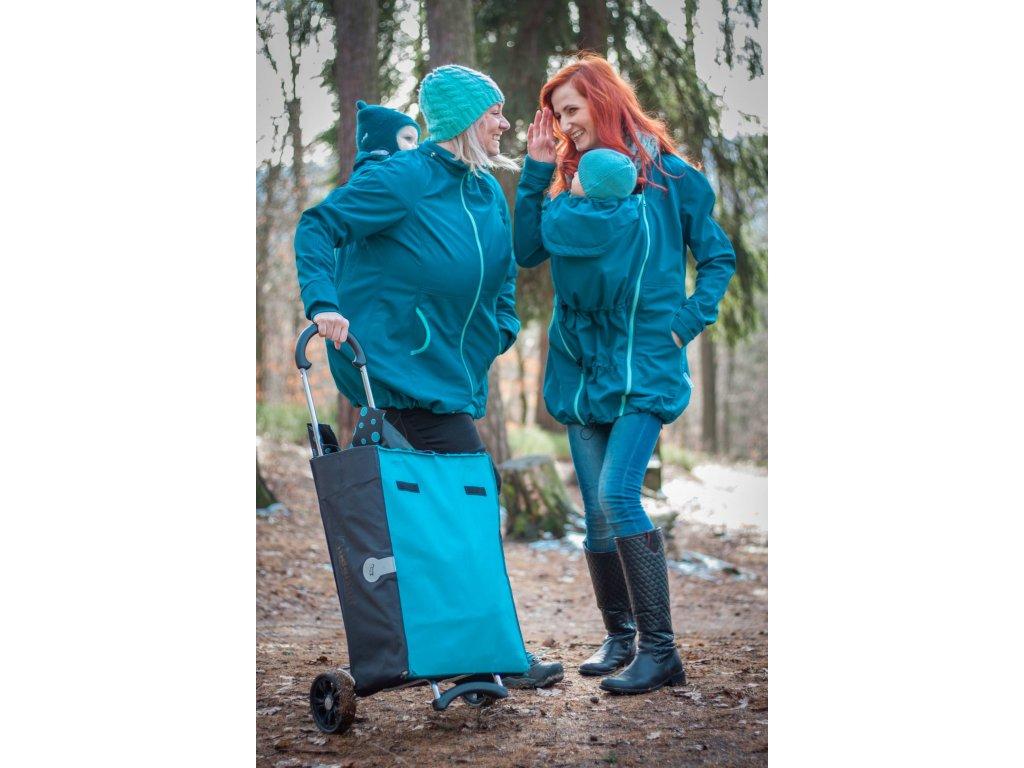 Softshellový kabát na nošení dětí - petrolejový