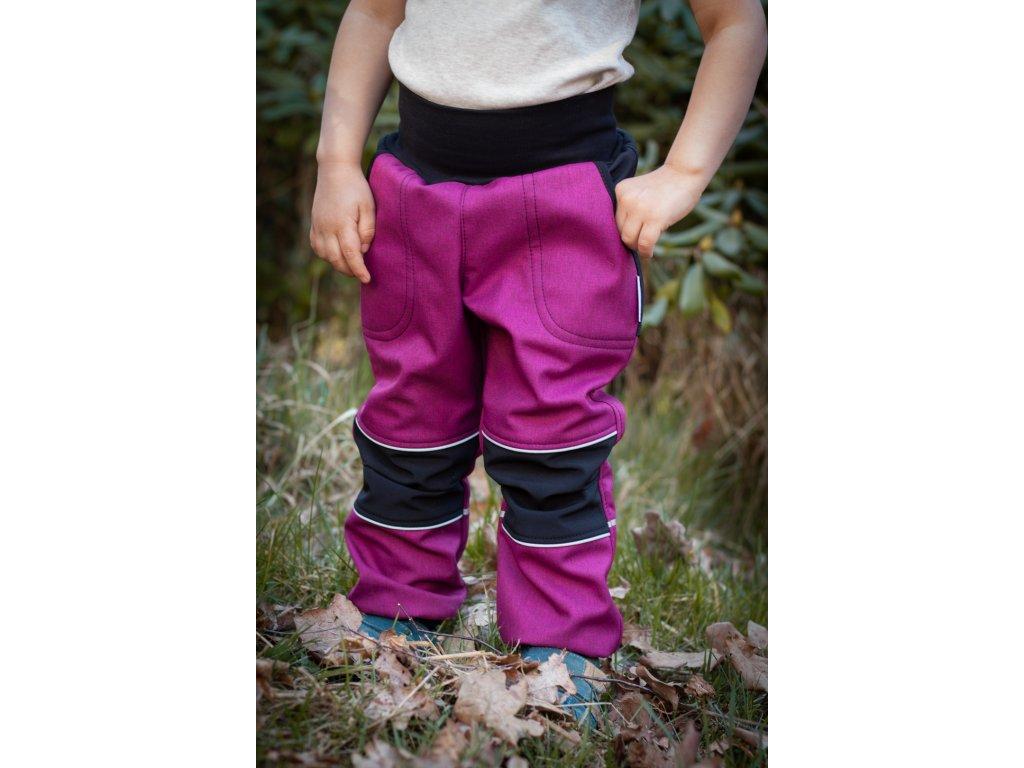 Softshellové kalhoty - malinové
