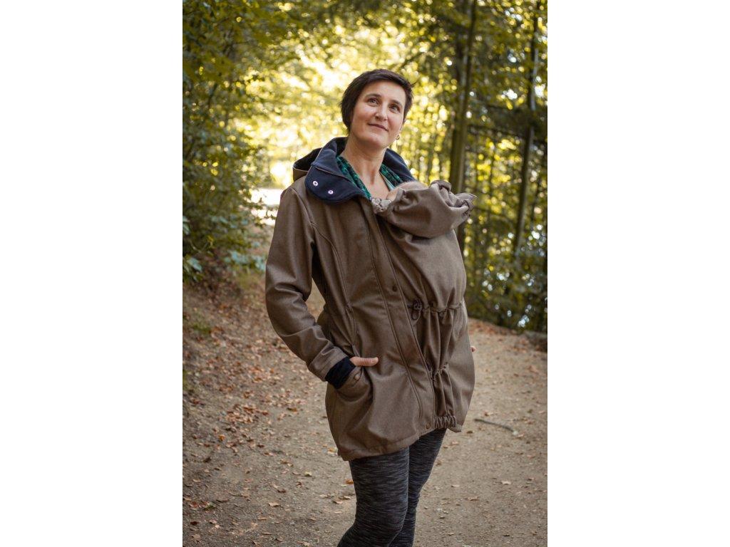 Dámský softshellový kabát na nošení dětí - hnědý melír