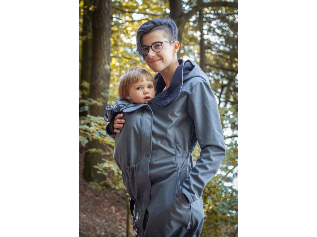 Dámský softshellový kabát na nošení dětí - šedomodrý melír