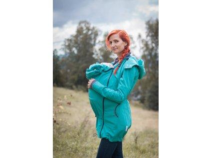 Kabát na nošení dětí - barva jezerní modrá