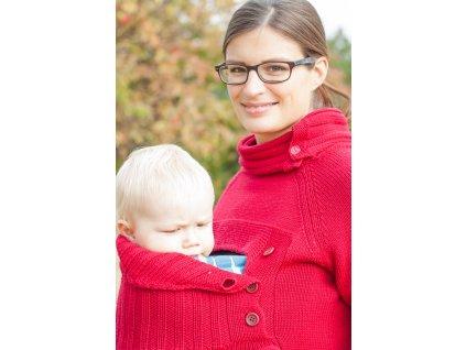 Svetr na nošení dětí - merino - barva červená
