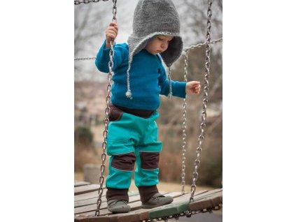 Softshellové kalhoty pro děti tyrkysové