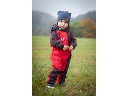 Dětská rostoucí softshellová kombinéza - červená