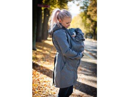 Softshellový kabát na nošení dětí - šedomodrý melír