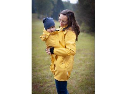 Softshellový kabát na nošení dětí - žlutý melír