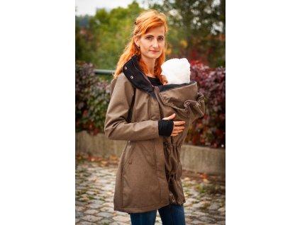 Softshellový kabát na nošení dětí - hnědý melír